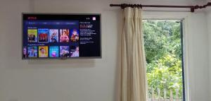 A television and/or entertainment centre at Suíte privada no meio da natureza serrana.