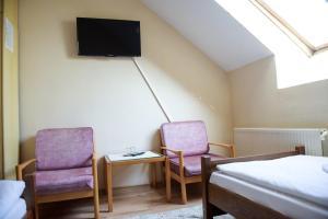 Televízia a/alebo spoločenská miestnosť v ubytovaní Hotel Rubín