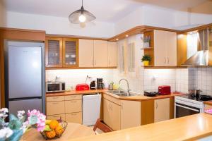 Kuchyň nebo kuchyňský kout v ubytování Athens Galatsi Spacious Modern Apartment