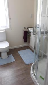 A bathroom at Luxury 6 berth lodge at Quince 10