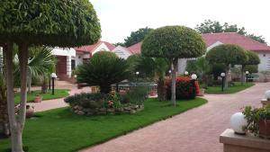 A garden outside Prince Hotel