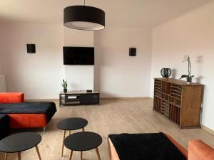 A television and/or entertainment centre at BEAU T4 100M2 PALAIS DES ROIS DE MAJORQUE