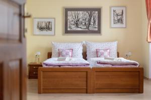 Ein Bett oder Betten in einem Zimmer der Unterkunft Penzion U Hrádku