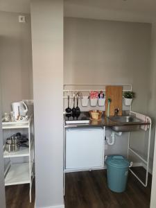 Küche/Küchenzeile in der Unterkunft Hotel am Stadtring