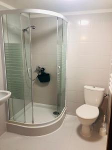 Koupelna v ubytování Pod Winnym Gronem