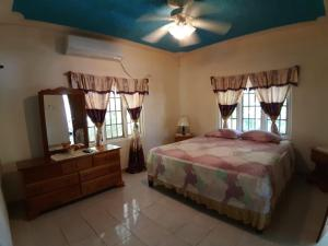 A bed or beds in a room at Green's Palace Jamaica