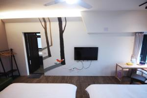 A television and/or entertainment center at Cloud There House