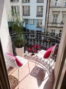 A balcony or terrace at Quiet-Apartments Centrum II
