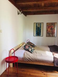 Łóżko lub łóżka w pokoju w obiekcie Dom letniskowy w Borach Tucholskich