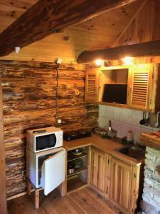 Virtuvė arba virtuvėlė apgyvendinimo įstaigoje Elenutes namai