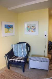 A seating area at Laughing Fish Studio