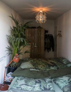 A bed or beds in a room at Vibing urban jungle apartment!