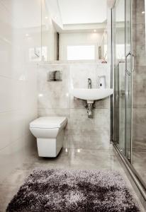 A bathroom at Super komfortowe mieszkanie - MTB Narty Góry Sowie