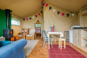 A seating area at Kidwelly Glamping
