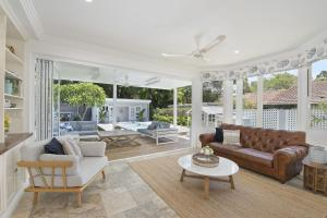 A seating area at Hamptons Beach House in Curl Curl