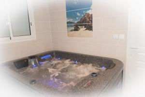 A bathroom at Ti Kaz Hoareau