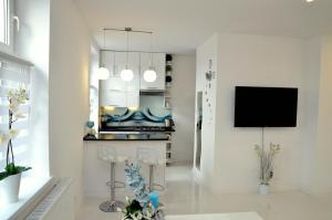 A television and/or entertainment centre at Apartament Domi