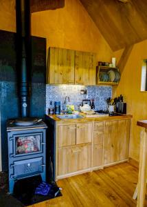 A kitchen or kitchenette at Birdwatcher's Cabin