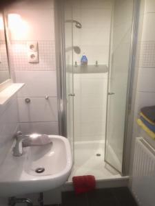 Ein Badezimmer in der Unterkunft Ferienhaus am Glückstädter Hafen
