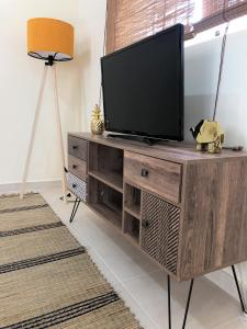 A television and/or entertainment center at Boho Apartment near Athens Airport