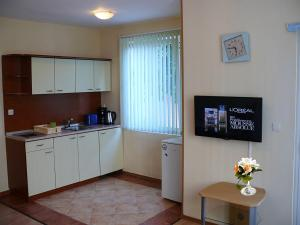 A kitchen or kitchenette at Aquarelle Hotel