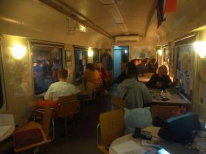 A restaurant or other place to eat at Train Lodge Amsterdam
