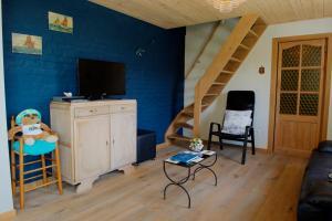 Télévision ou salle de divertissement dans l'établissement Holiday Home Garnaalhuisje