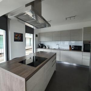 A kitchen or kitchenette at Blue Water Apartment