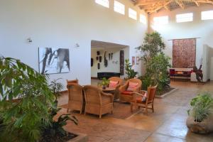 De lobby of receptie bij Africa House Malawi