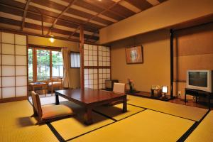A seating area at Shibu Onsen KOKUYA