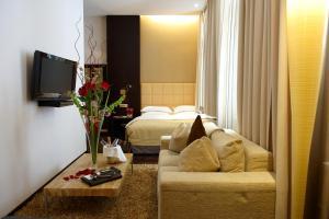 Ein Sitzbereich in der Unterkunft MyPlace - Premium Apartments City Centre