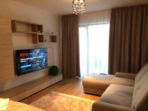 Un televizor și/sau centru de divertisment la Flori de Iulie Apartamente