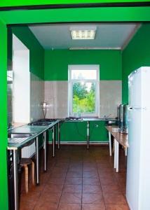 A kitchen or kitchenette at HotelHot Firsanovka