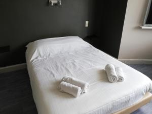 A bed or beds in a room at Logies Het Maantje