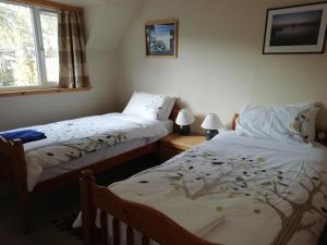 A bed or beds in a room at Fraoch Lodge