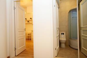 A bathroom at capital apartments