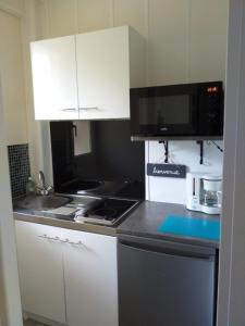 A kitchen or kitchenette at studio meublé, centre-ville