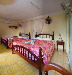 A bed or beds in a room at Hostal Nelba & Carlos