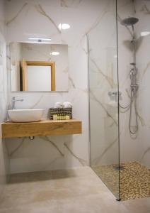 A bathroom at Villa Luce a luxury villa in Dubrovnik, tennis court