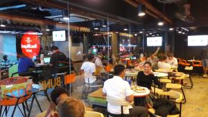 A restaurant or other place to eat at Bunk 5021 Hostel
