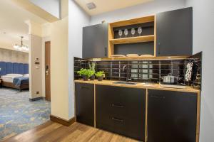 A kitchen or kitchenette at Hotel Diament Plaza Gliwice