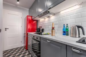 Kuchyň nebo kuchyňský kout v ubytování Apartament Zielna by Your Freedom