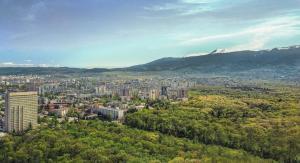 Ett flygfoto av Park Hotel Moskva