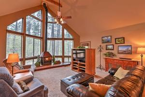 A seating area at Prescott Cabin with Beautiful Forest Views and Deck!