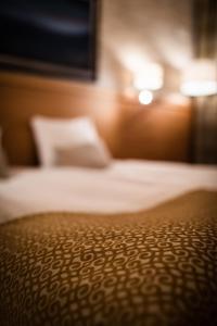 Vuode tai vuoteita majoituspaikassa Hotel Aakenus
