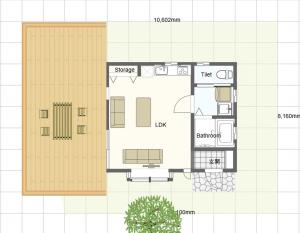 The floor plan of Villa Relax