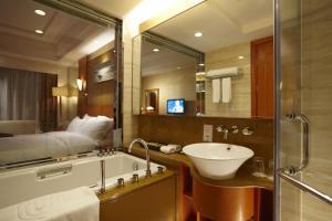 A bathroom at Dalian East Hotel