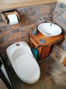A bathroom at Cabañas Rukantu