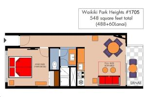 The floor plan of Waikiki Park Heights #1705