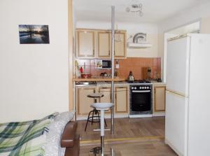 Кухня или мини-кухня в Студия в тихом районе